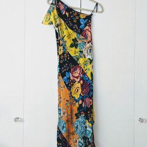 DIANE VON FURSTENBERG One Shoulder Floral Dress